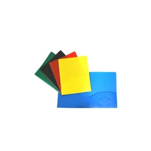 Folders, plastic, 2 pocket w/brads, asst. colors