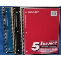 Spiral Notebook 5 subject Wide rule 180 ct. asst colors.