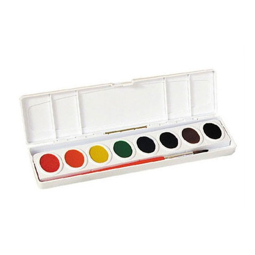 Watercolors, washable, tray w/ brush, 8ct.