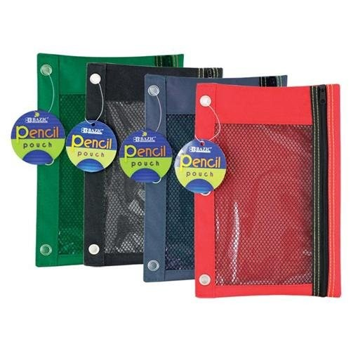 Pencil Bag 6.5 inch x 10 inch mesh front 3 hole asst colors