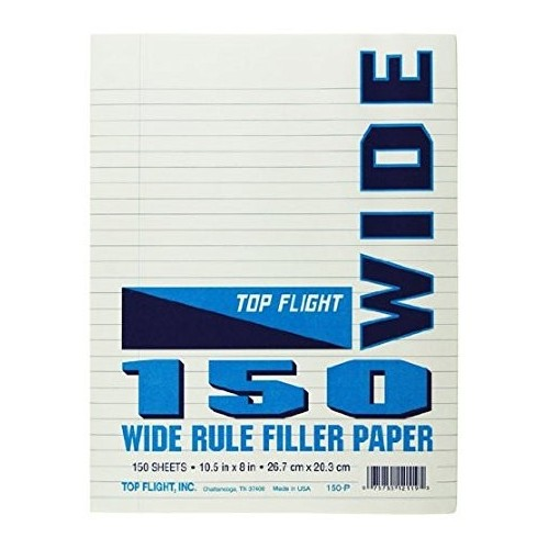 Filler Paper, wide rule, 10.5 x 8, 150 ct.