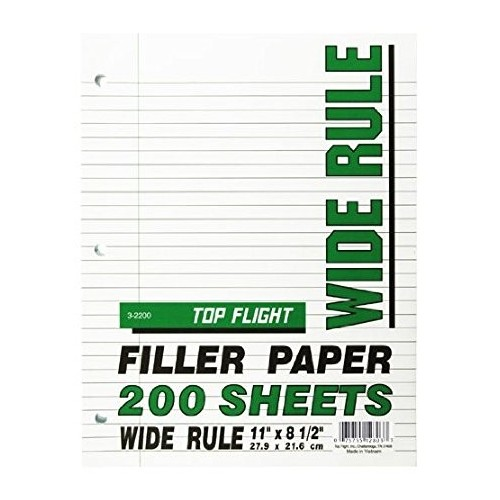 Filler Paper, wide rule, 10.5 x 8, 200 ct.