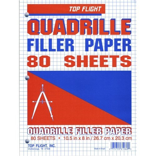 Graph Paper, 4sq/in, 10.5x8, 3-hole, 80ct pk