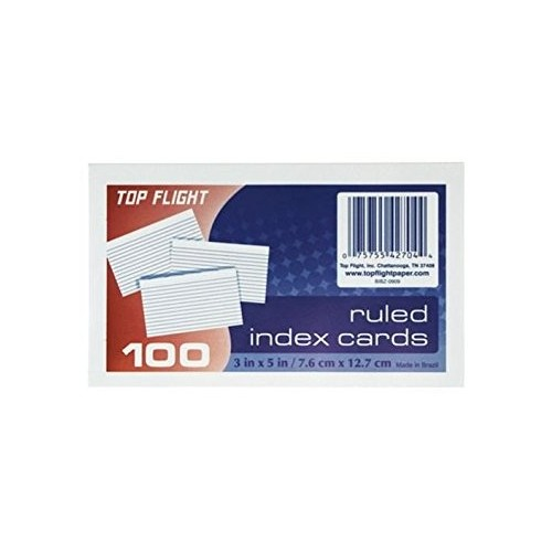 Index Cards 3 inch x 5 inch, ruled 100 ct