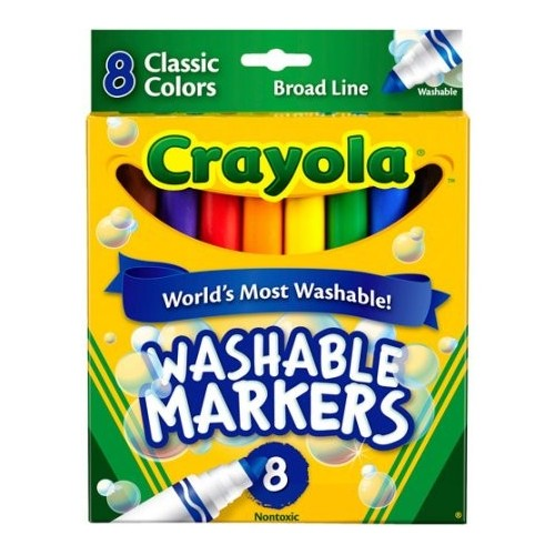 Markers, washable, conical, classic colors, 8 ct Brand: Crayola