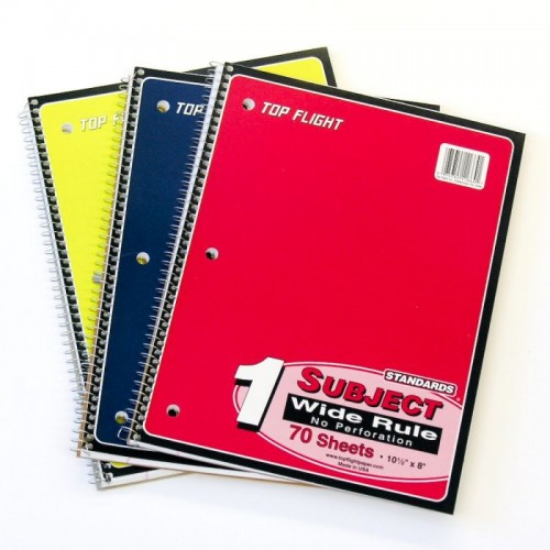 Spiral Notebook wide1 subject 100 ct assorted colors