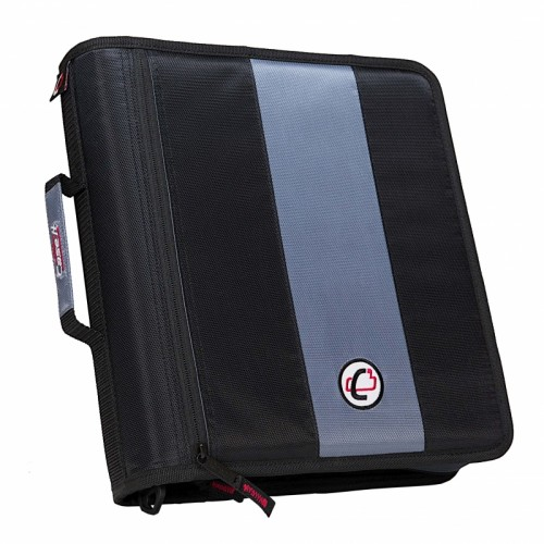 Case-It Binder, zipper, 2 inch, the classic, two inside pockets, handle & strap