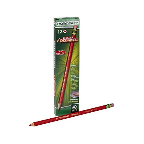 Pencils, grade checking, red with eraser