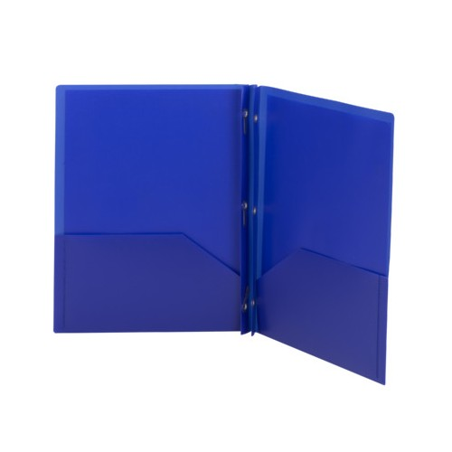 Folders, plastic, 2 pocket with brads, blue