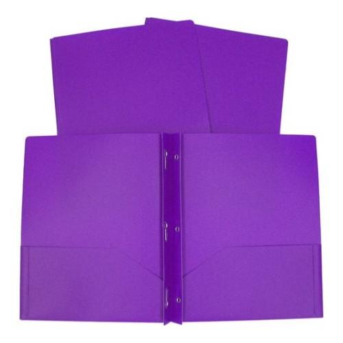 Folder plastic 2 pocket with prongs (brads) purple