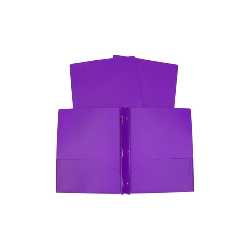 Folder, plastic purple with brads prongs