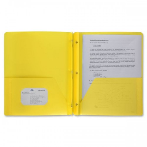 Folders, plastic, 2 pocket w/brads, yellow