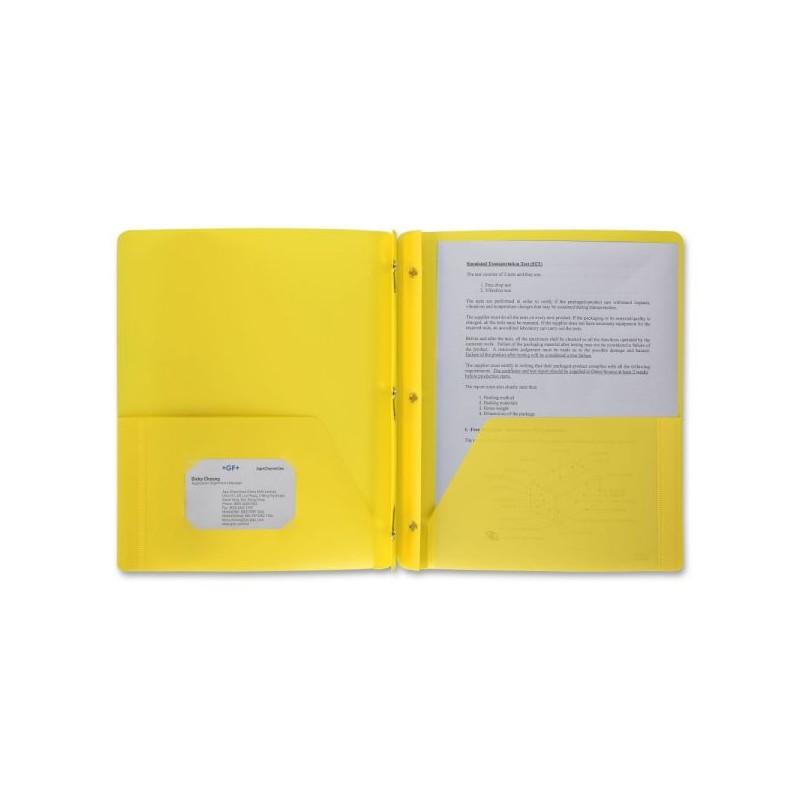 Folder, yellow plastic prong brad