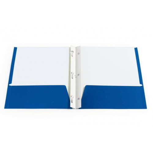 Folders, 2 pocket w/brads, blue, 12pt thick, coated