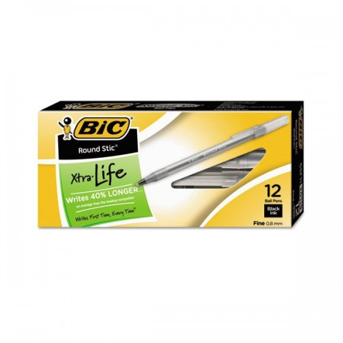 Pens medium point round stic 12 ct black Brand BIC