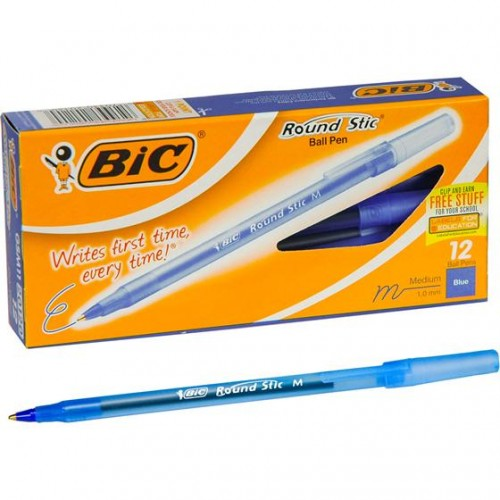 Pens, medium pt, round stic, 12 ct. blue BIC
