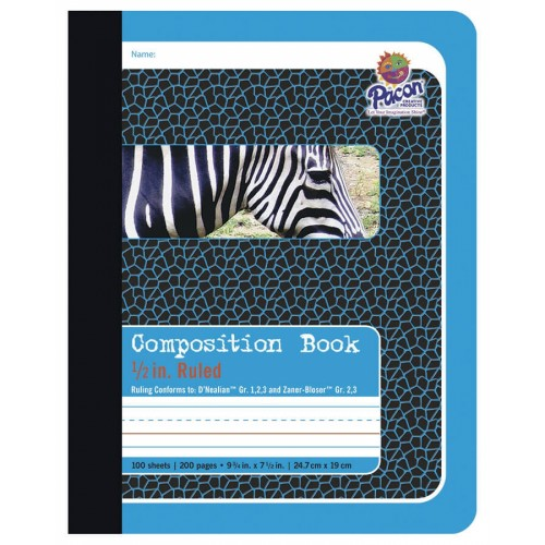 PACON COMPOSITION BOOK, BLUE - ZEBRA