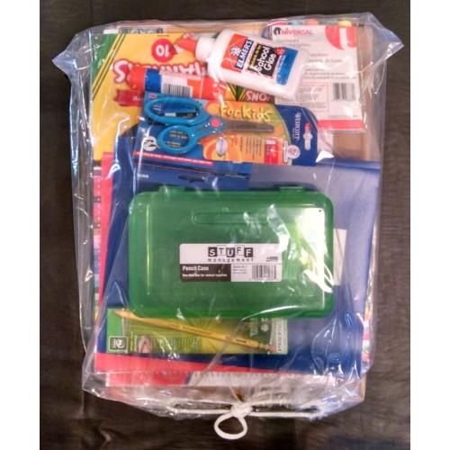 kindergarten girl School Supply Pack Moore Elementary