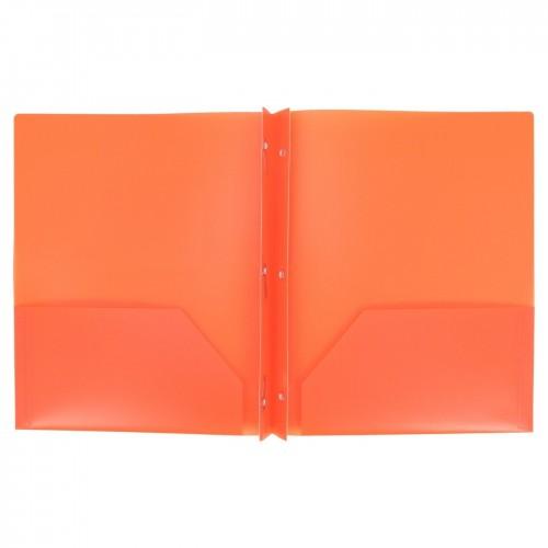Folders, plastic, 2 pocket w/brads, orange