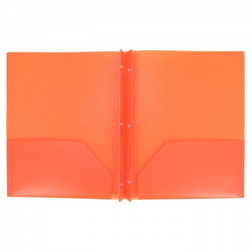 Folders, plastic, 2 pocket with brads, orange