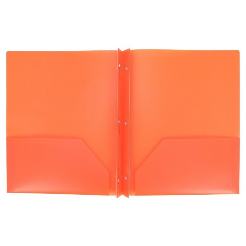 Folders, plastic, 2 pocket with brads, orange