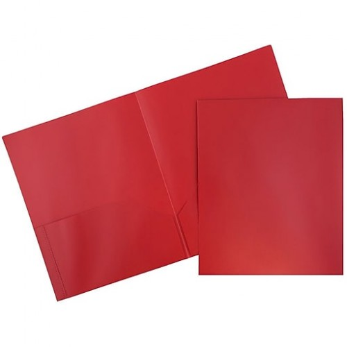 Folder red plastic 2 pocket