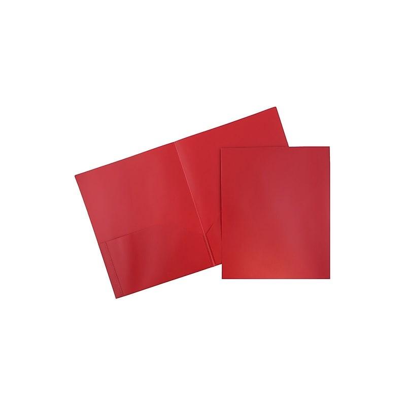 Folder red plastic 2 pocket