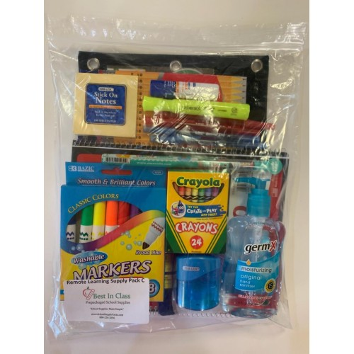 school supply pack for distance remote home school learning and studying