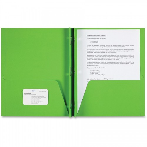 Folders 2 pocket with brads prongs green 12 point thick