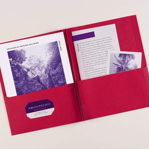 Folder red pocket with brads prongs paper