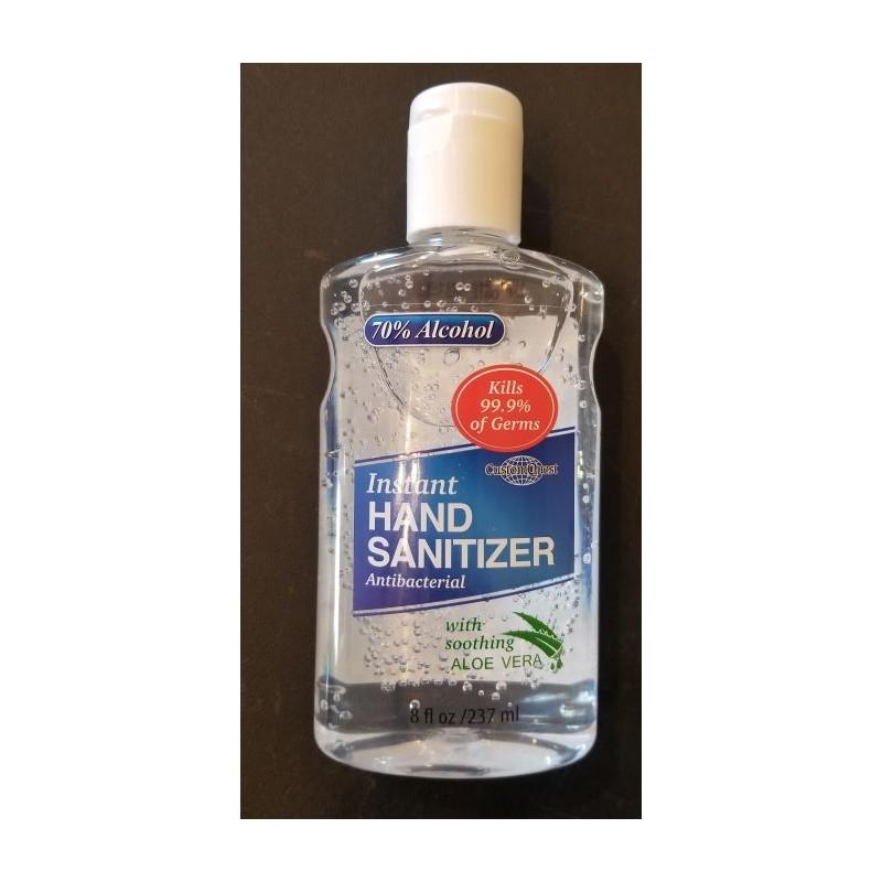 Hand Sanitizer 8 ounce bottle antibacterial flip top cap kills germs