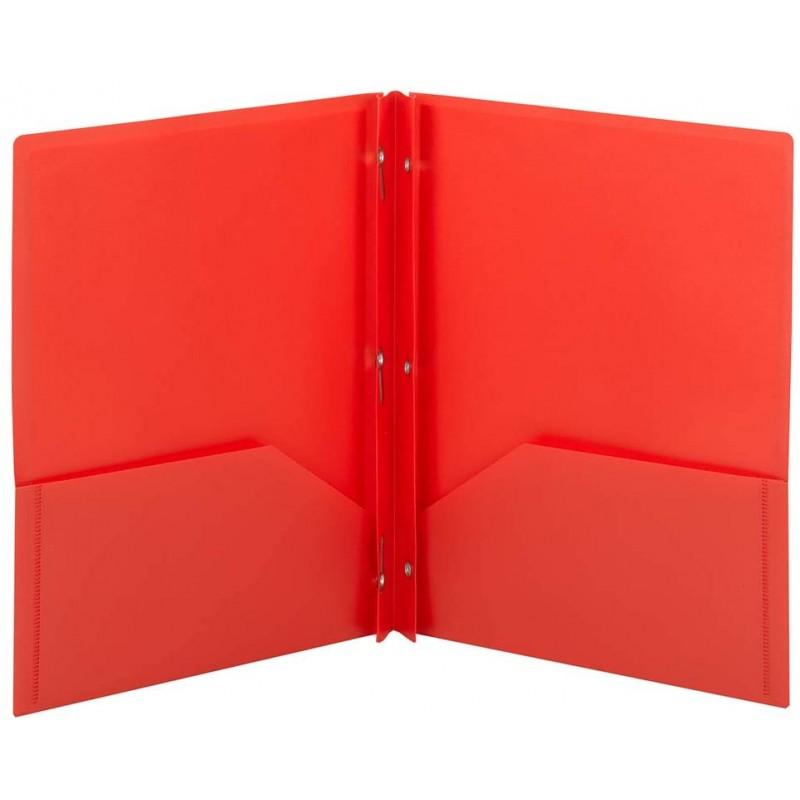 Folder red plastic 2 pocket prong brad