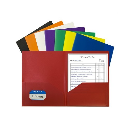 Folder plastic 2 pocket assorted colors