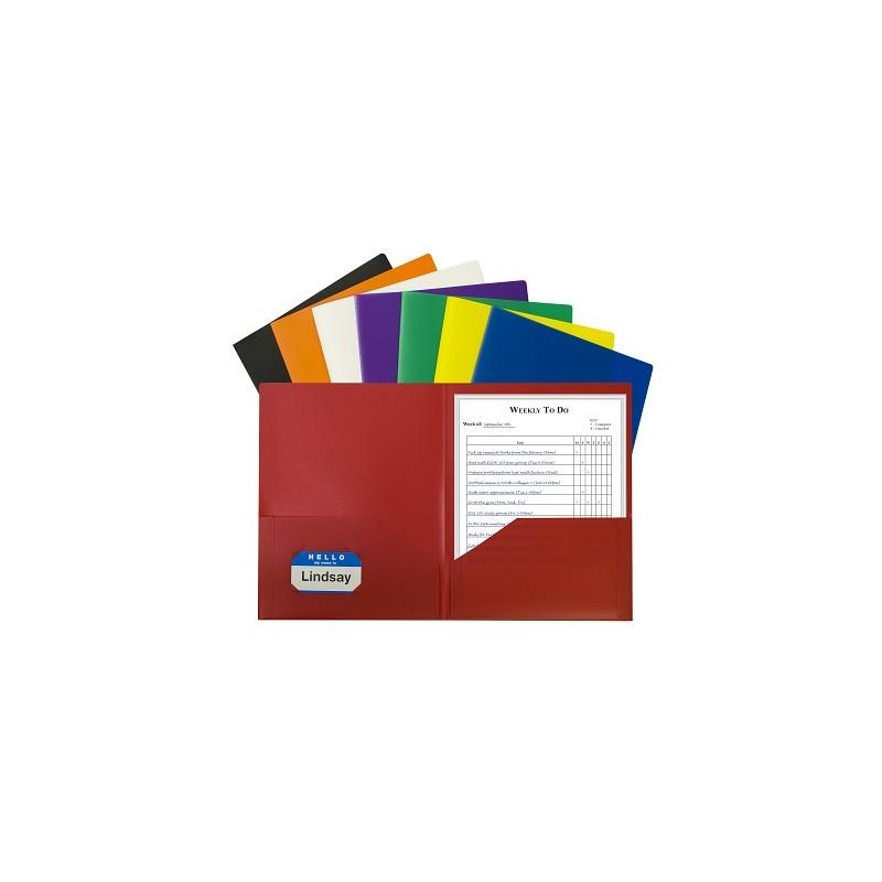 Folder plastic poly 2 pocket assorted colors