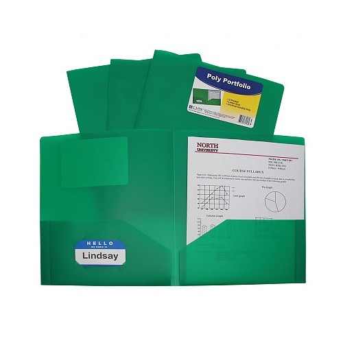 Folders plastic poly 2 pocket green