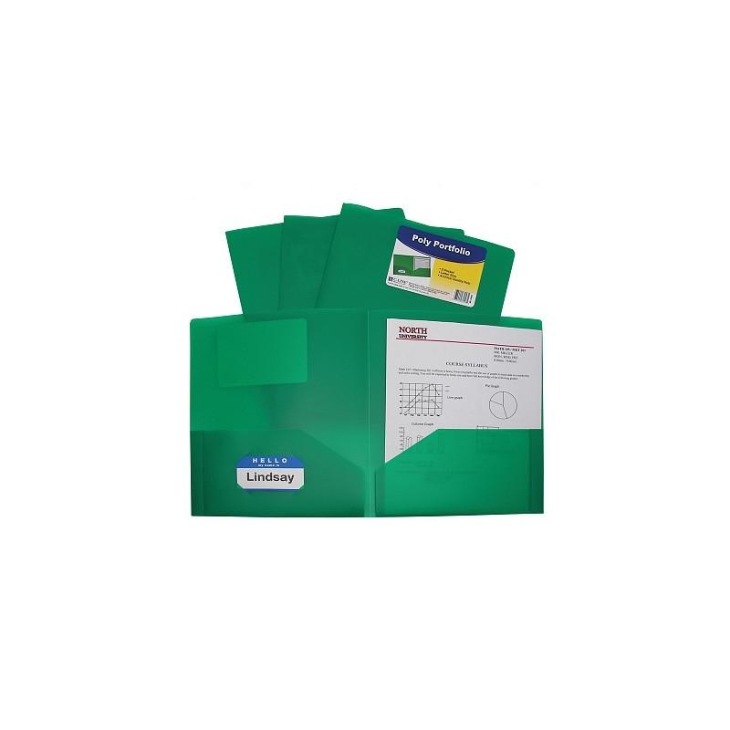 Folder plastic poly green 2 pocket