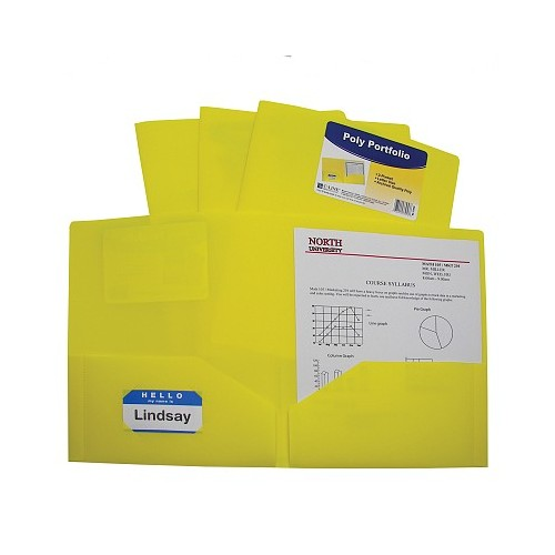 Folder plastic poly 2 pocket yellow