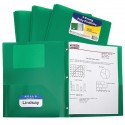 Folder plastic poly Green 2 pocket with brads prongs