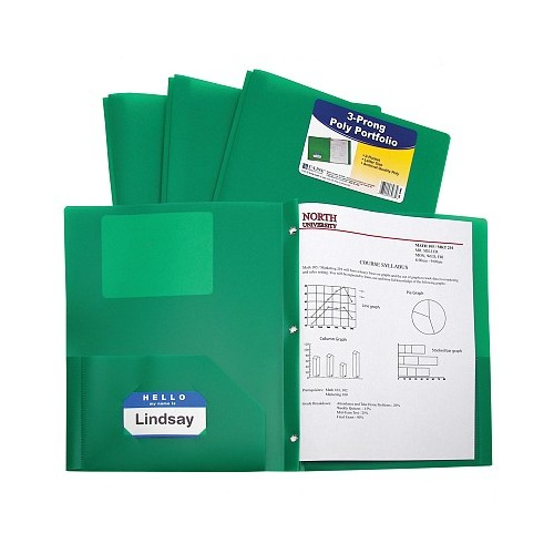 Folder plastic poly 2 pocket heavyweight green