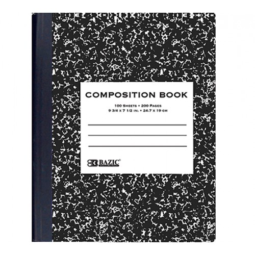 Composition Book, Wide rule, 100 ct, marble black